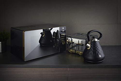 31bKG8114GL - Swan Gatsby Black and Gold 800W Digital Microwave, 23 Litre, Digital Display, Variable Power Settings, Auto Cook Menu…