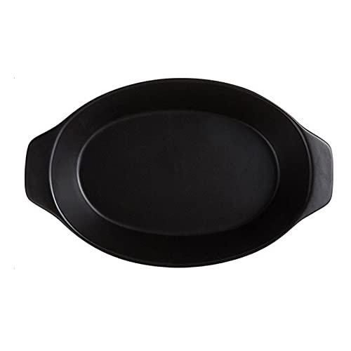 1 Piece Baking Sheet Baked Cheesecake Ceramic Plate Creative Binaural 750ml Black