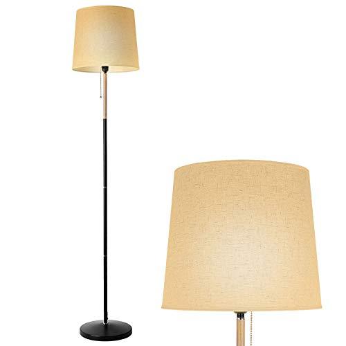 Deckey Stehlampe Modern mit stilvollem Leinenschirm, Für Wohnzimmer, Schlafzimmer, Arbeitszimmer, Esszimmer, Flur, Büro E27 Fassung max. 60W (Höhe 170cm)