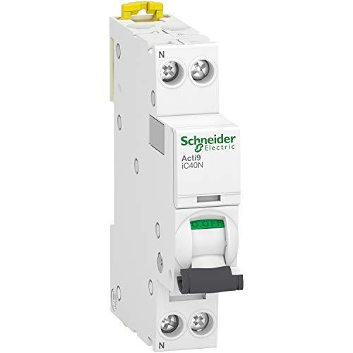 Interruptor automatico en miniatura Acti9 IC40F, 1P + N, 10A, capacidad de corte 6000 A (IEC 60898-1), 10 kA (IEC 60947-2), curva C, 7,4 x 1,8 x 8,5 centímetros, color blanco (referencia: A9P54610)