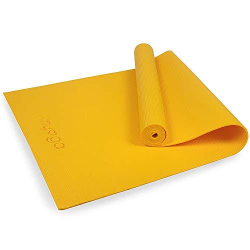 Myga RY1461 - Esterilla De Yoga De Nivel De Entrada - Ejercicio Básico Para El Hogar, Gimnasio, Estudio De Yoga - 173 x 61 cm 4 mm De Grosor - Mostaza