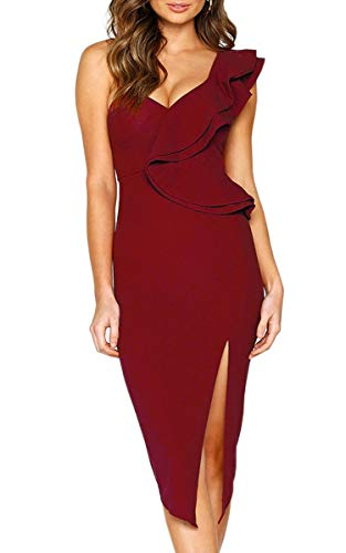 ECOWISH Women's Dresses Sexy Ruffle One Shoulder Sleeveless Split Bodycon Midi Party Dress Wine Red M