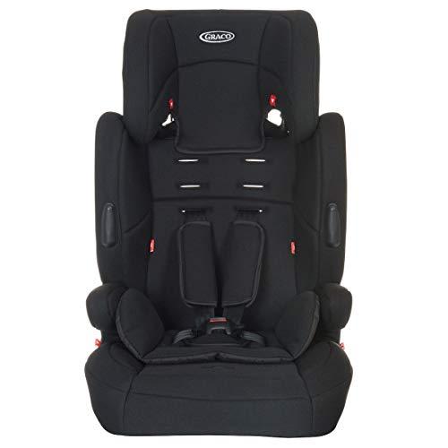 Graco Endure Kindersitz Gruppe 1/2/3, 9-36 kg, 9 Monate bis 12 Jahre, mit 5-Punkt-Gurt und Sitzauflage, 6-fach verstellbare Kopfstütze,  Black