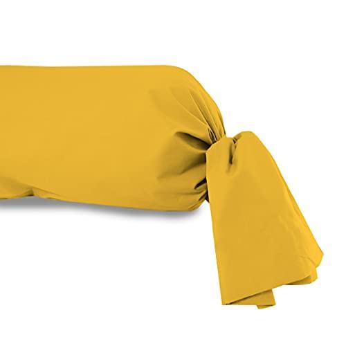 Soleil d'ocre Funda de travesaño Lisa de algodón Amarilla