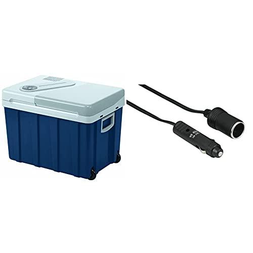 Mobicool W40, tragbare elektrische Kühlbox mit Rollen, 39 Liter, 12/24 V und 230 V für Auto, Lkw, Boot, Reisemobil und Steckdose & Hama KFZ Verlängerungskabel für Zigarettenanzünder Buchse, 6m