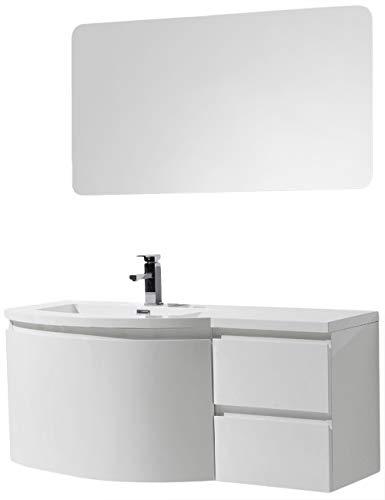 Badmöbel Set LAURANCE 1200 Weiß Hochglanz - geschwungene Form, Spiegel:Mit Spiegelschrank G1200, Ausführung:Waschbecken LINKS