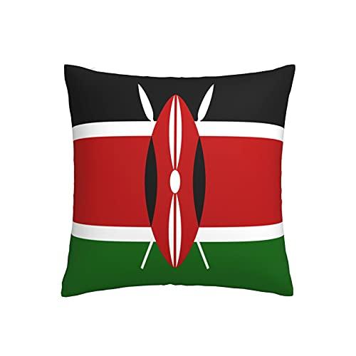 Kissenbezug mit Flagge von Kenia, quadratisch, dekorativer Kissenbezug für Sofa, Couch, Zuhause, Schlafzimmer, Indoor Outdoor, niedlicher Kissenbezug 45,7 x 45,7 cm