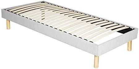 King of Dreams Adrien – Sólido y cómodo somier tapizado + patas de 18 cm – 200 x 200 – 3 x 14 láminas – Montaje rápido y fácil – Grosor del metal +/- ...