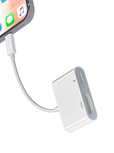 YEHUA Adattatore AV Digitale da Phone a HDMI, Cavo HDMI HDTV 1080P per Phone 12/11 / XS/XR/X / 8 Plus Pad Pod a HDMI