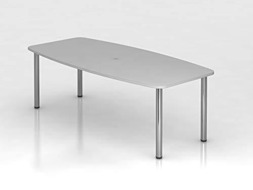 Hammerbacher Konferenztisch - Gestellvariante Rundrohrbeine, für 8 Personen - lichtgrau | KT22C/5 - Besprechungstisch Besprechungstische...