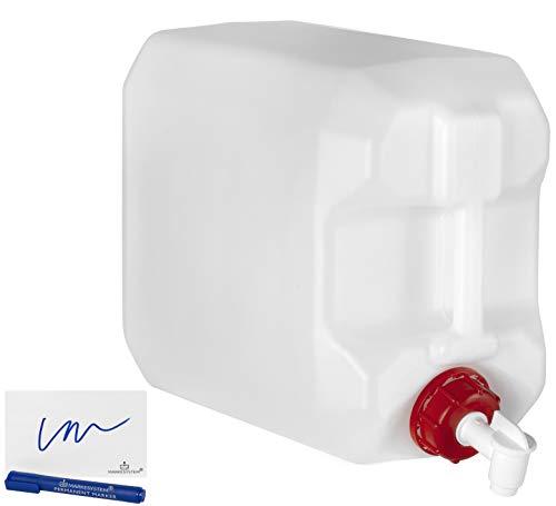 MARKESYSTEM - Garrafa bidón plástico HPDE (25 Litros) + Grifo + Kit Etiquetado + Rosca boca ancha - Homologada ADR - Apilable - Apta uso alimentario - Ideal como depósito líquidos y químicos