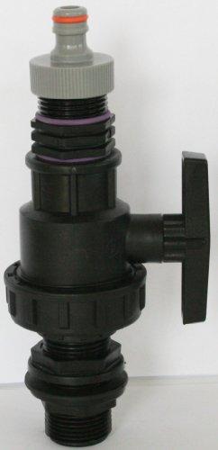 AMTDVN _ 9482 + 99 cuve Exécution avec écrou-raccord 1 et boule plastique robinet + mamelon double fiche et convient pour Gardena, IBC Adaptateur de réservoir d'eau de pluie de Accessoires de conteneurs Mamelon de Bidon