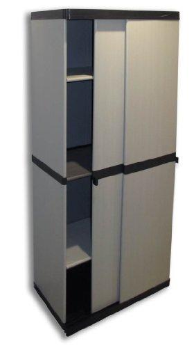 """Hoher Kunststoffschrank""""SLIDE"""" mit spritzwassergeschützter Deckel- & Bodenplatte, Schiebetüren und 3 Einlegeböden (2 davon höhenverstellbar) - sehr stabil und optimal für Garten oder Haushalt"""