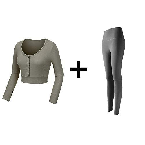 Rrui Sportkleding voor dames, met lange mouwen, voor dames, met lycra, abrikozenbovendeel en grijze broek L.
