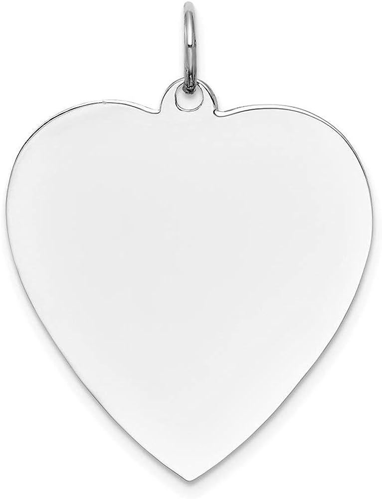 14k White Gold Plain .013 Gauge Engravable Heart Pendant (L- 30 mm, W- 24 mm)