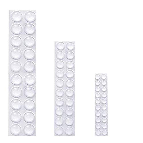 FeJu Elastikpuffer transparent | 60 Stück in 3 Größen selbstklebend | Gummifüße, Silikon Möbelschutz, Anti Rutsch Pads, Toilettendeckel Stopper Wand