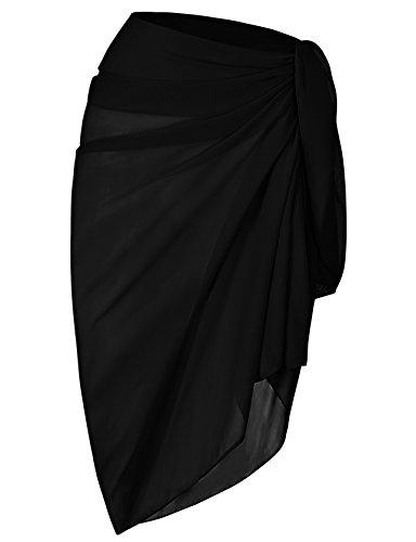 ChinFun Women's Beach Cover Up Long Sarong Dress Pareo Swim Slit Skirts Bathing Suit Bikini Wrap Chiffon Shawl Scarf Solid Black