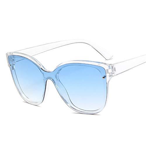 YQSBYI Hochwertige übergroße Sonnenbrille Damen Luxus Quadrat Sonnenbrille Damen/Männer Retro Sonnenbrille Damen (Lenses Color : T Blue)