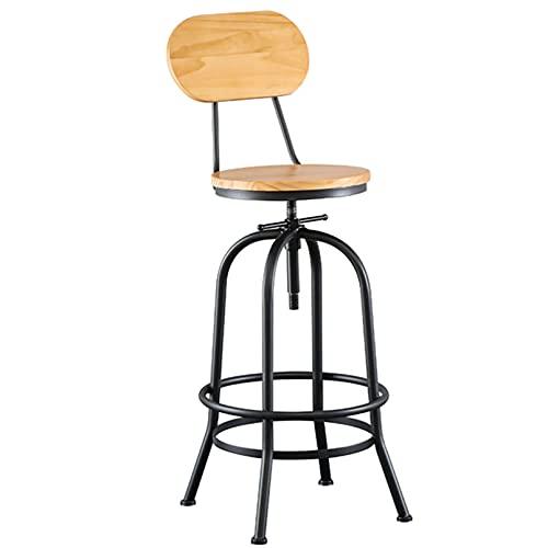 American Industrial Antique Design Silla de desayuno de cocina de altura ajustable, taburete de bar de metal con respaldo totalmente soldado, para bar, cocina, comedor, sala de estar y bar bistró
