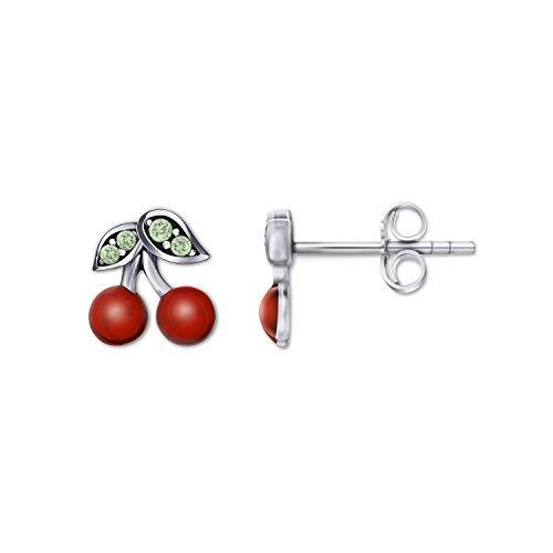 Herzflügel Ohrringe Kirschen aus 925 Sterling Silber - Echte Damen Ohrstecker mit Zirkonia Steinen - Rhodiniert