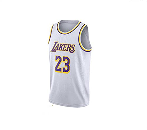 Jersey Lakers No.23 Lebron James Camisa de Baloncesto Retro Summer Baloncesto Uniforme Bordado Masculino Top Baloncesto Traje,Blanco,S