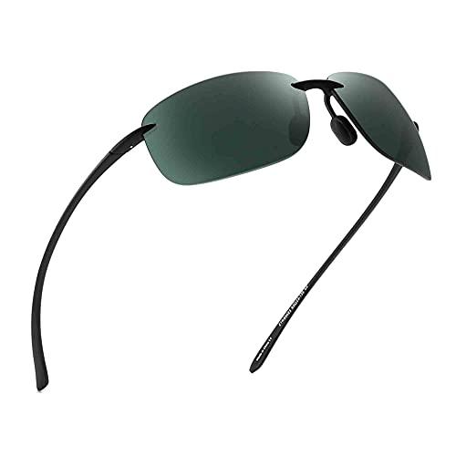 Lunettes de Soleil Sport pour Homme Femme Cadre Incassable TR90 Sans Monture pour Courir Pêche Baseball Conduite Vert