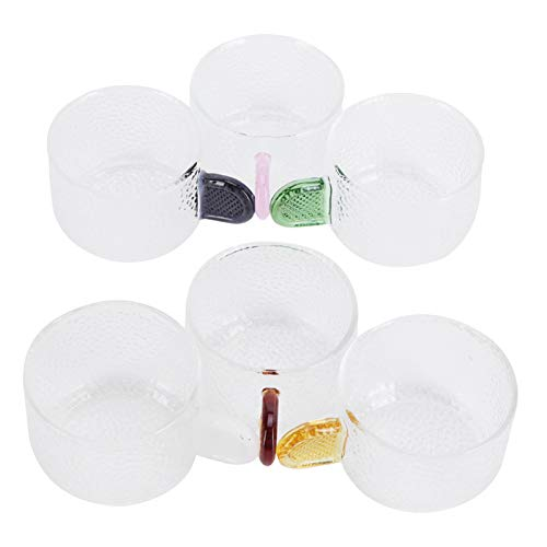Taza de té Taza de agua de vidrio resistente a la temperatura, oficina en casa o café Bar Juego de tazas para beber Juego de té Juego de regalo con asa, para beber leche, café, té, 6 piezas