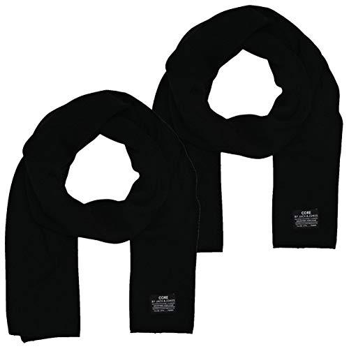 JACK & JONES Herren Schal JJDNA im Doppelpack, Größe:One Size, Farbe:2x Black (12098582)