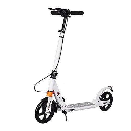 Patinete plegable City Roller Big Wheel para adultos con freno de disco hasta 120 kg, altura regulable (color blanco)