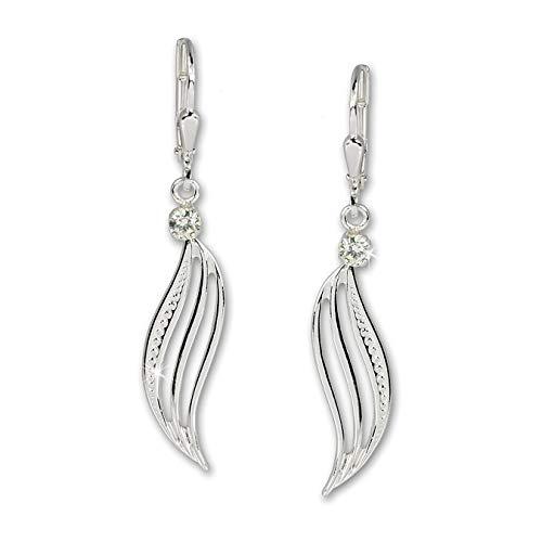 Silberdream Damen-Ohrhänger Welle Cz Weiß 925 Silber SDO524W