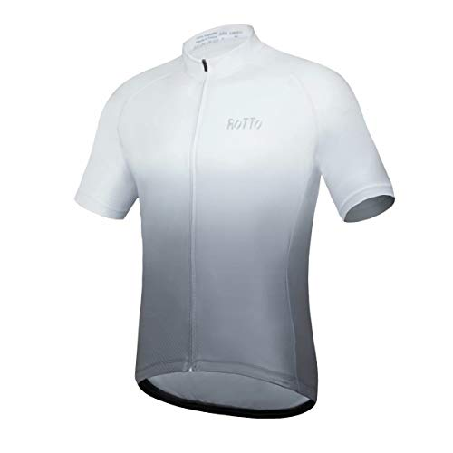 ROTTO Radtrikot Herren MTB Rennrad Trikot Kurzarm Fahrradbekleidung (D Weiß-Grau, L)