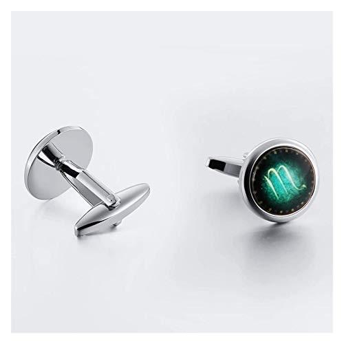 SYXYSM Men's Cufflinks Oval Luminous Stone Cufflinks Stainless Steel Cufflinks Business Casual Men And Women Cufflinks (Color : Silver Green H)