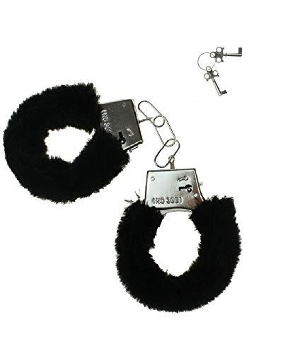 Sonnenscheinschuhe® Liebeshandschellen Plüsch Handschellen schwarz Scherzartikel Erotik Handfesseln