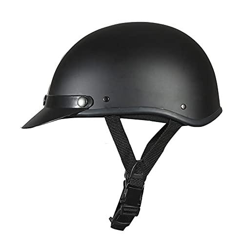 Casco de motocicleta medio casco certificado ECE/DOT casco de motocicleta de cara abierta para adultos hombres y mujeres casco de bicicleta ciclomotor scooter cruiser Matte black,A