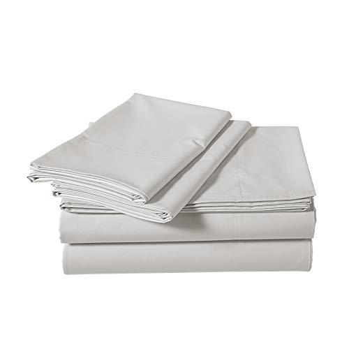 AmazonBasics Super-Soft Sateen 400 Thread Count Cotton Sheet Set - Twin, Steely Grey