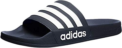 adidas Men's Adilette Shower Slide Sandal, White/Collegiate Navy, 8 M US