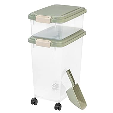 IRIS 3- Piece Airtight Pet Food Storage Container Combo, Sage