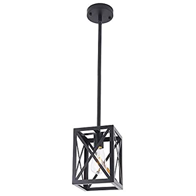 LMSOD Industrial Pendant Light Fixture, Single Light Farmhouse Lantern Chandelier Kitchen Island Hanging Cage Ceiling Lights for Dining Room Restaurant Cafe Hallway Bar Barn