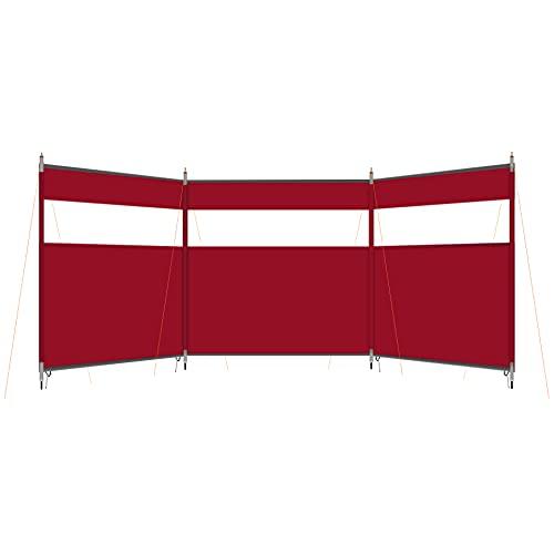 HIKEMAN Paravent de camping – Pare-brise de plage,pare-soleil,pare-soleil extérieur,caravane avec fenêtre supérieure,comme bâche de tente pour jardin,pique-nique,barbecue,feu de camp(vin rouge)