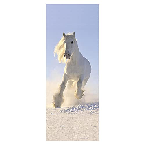 Pegatinas creativas para puerta de caballo, color blanco, desmontables, impermeables, para hogar, para dormitorio, sala de estar, escaleras, decoración moderna (77 cm x 200 cm)