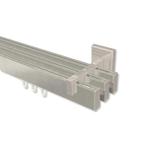 INTERDECO eckige Innenlauf Gardinenstange Edelstahl Optik 3-läufig Smartline Paxo, 160 cm