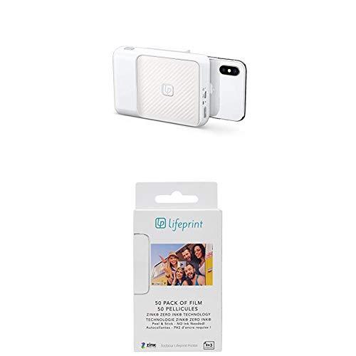 Lifeprint Impresora Instantánea, Compatibilidad con Apple y Android + Papel fotográfico de 2 x 3 Pulgadas Impresión sin Tinta, 5 x 7.6 cm, Papel fotográfico de Zinc con Dorso Adhesivo, Paquete de 50