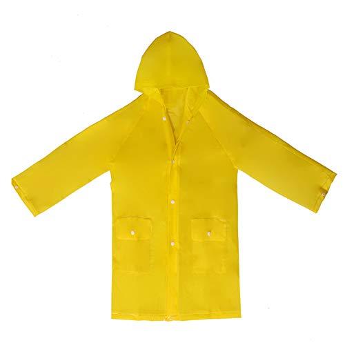 Taiduosheng Baby Boys Raincoat with 2Pocket Girls Yellow Long Rain Jacket Kids 4-14Years Old Rainwear M