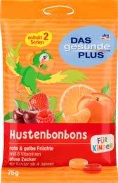 DAS gesunde PLUS Husten-Bonbon, rote & gelbe Früchte, für Kinder, zuckerfrei, 75 g