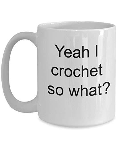 Taza Café Crochet Coser Hilo Algodón Tema Divertido Diseño