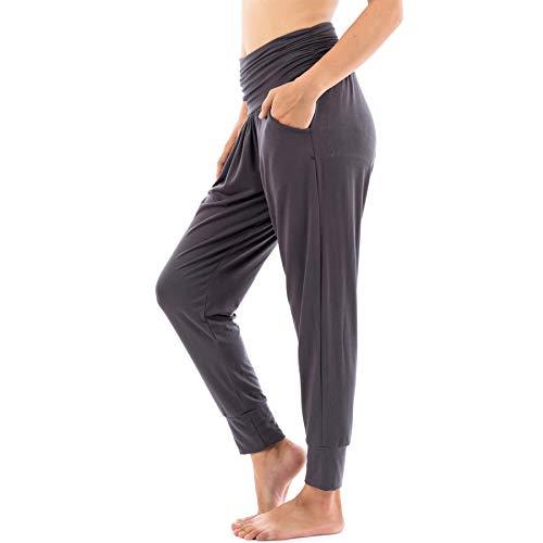 LOFBAZ - Pantalones de yoga con bolsillos para entrenamiento, pantalones holgados estilo harén - Gris - Medium