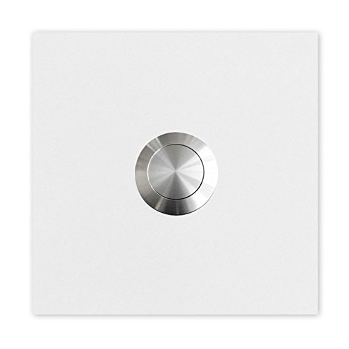 MOCAVI RING 110 Edelstahl-Design-Klingel weiß (RAL 9003 matt) Klingelplatte quadratisch, Klingelknopf Edelstahl, Klingeltaster signal-weiß