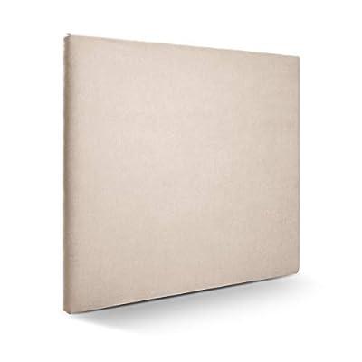 Cabecero tapizado acolchado para dormitorios con estructura en madera de pino Cabecero de cama acolchado con espumación HR Cabecero tapizado en tela antimanchas/polipiel Para camas de 140 (150 x 120 cm) tela beige