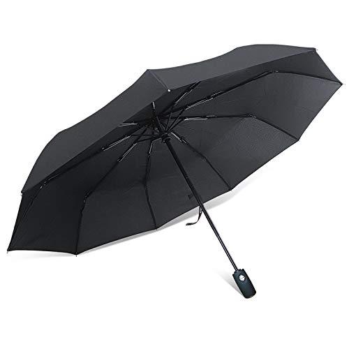 ROYALZ Regenschirm Sturmfest Taschen-Schirm mit Auf-Zu-Automatik Teflon-beschichtet Sturmsicher Schirm inkl. Schutztasche Schwarz, Farbe:Schwarz - Griff gummiert