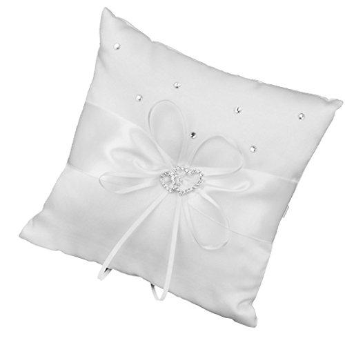 NaiCasy, cuscino per anelli, con doppio cuore e strass, cuscino per paggetto, cuscino porta anelli, colore: bianco